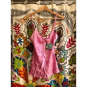 JLO pink silk beaded camisole tank top blouse